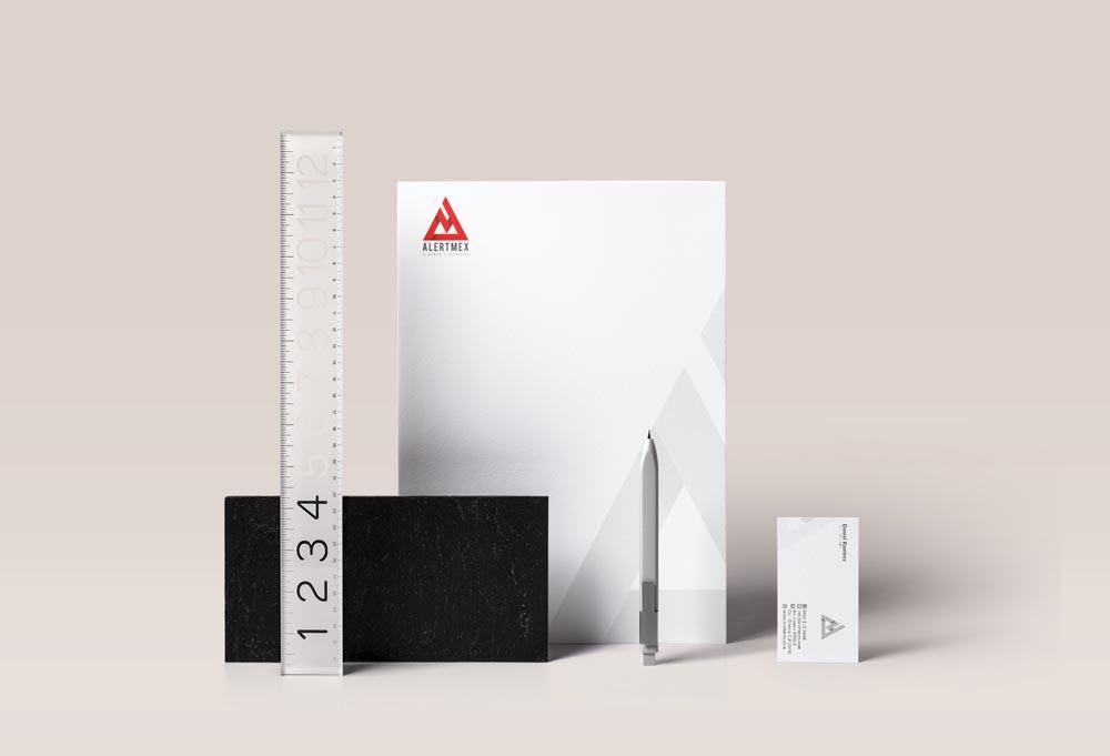 diseño papeleria corporativa alertmex