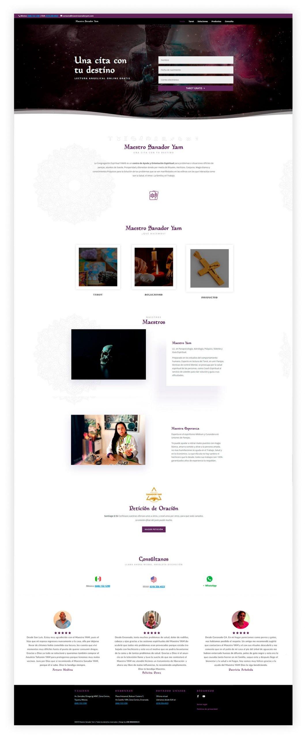 diseño web tarot inicio