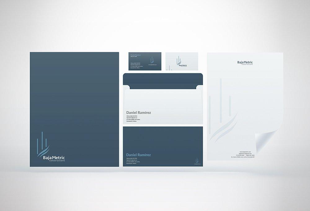 conjunto de papelería corporativa baja metric