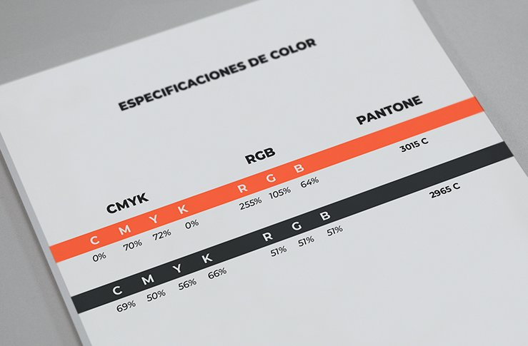 especificaciones de color de un manual de marca