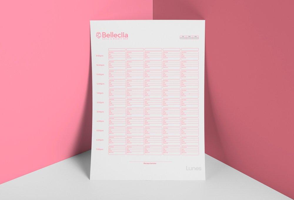 diseño agenda recepcion rosa