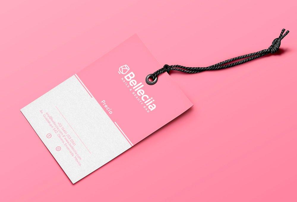 diseño etiqueta rosa