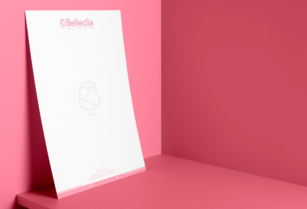 diseño membrete rosa