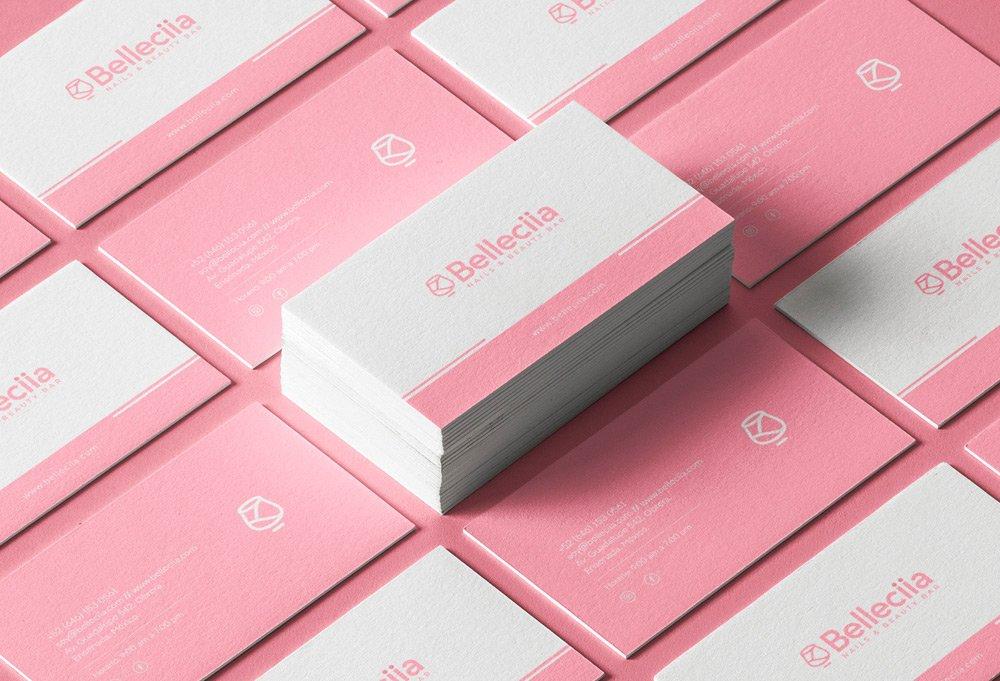 diseño tarjeta presentacion rosa