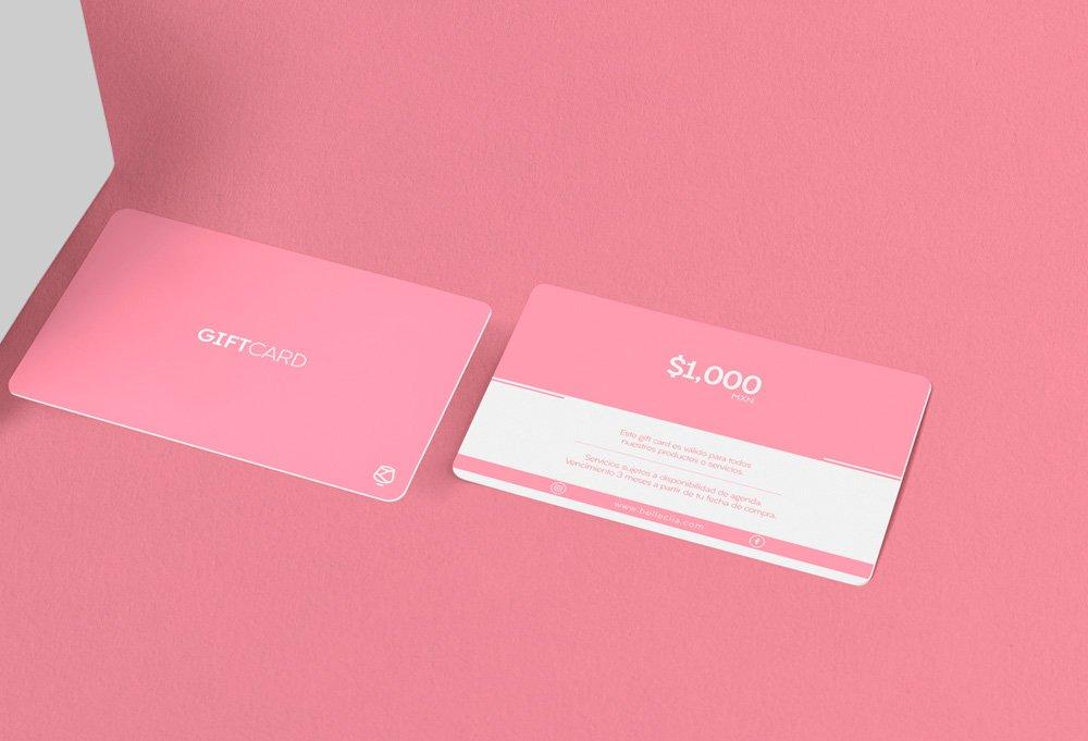 diseño tarjeta regalo rosa